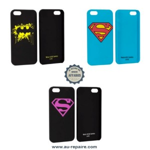 Coque arrière compatible Apple iPhone 5 design Batman, Superman, Supergirl